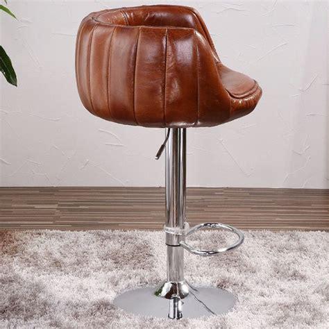 chaise de bar vintage vintage en cuir aviateur en aluminium tabouret de bar