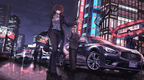 wallpaper anime girls water rain weapon tie