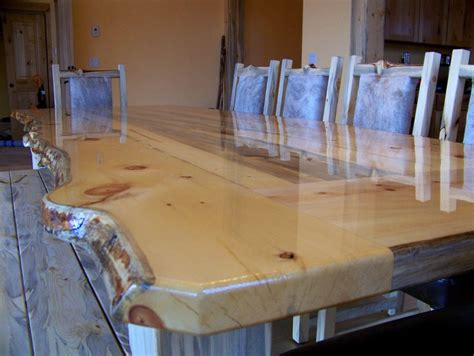 beetle kill pine  edge dining table  chairs