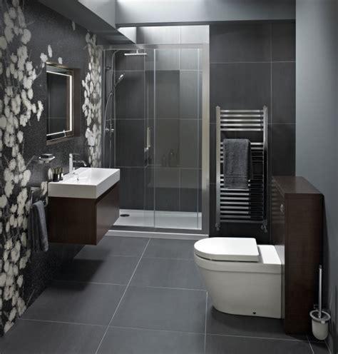 Compact Bathroom Designs With Grey Tile