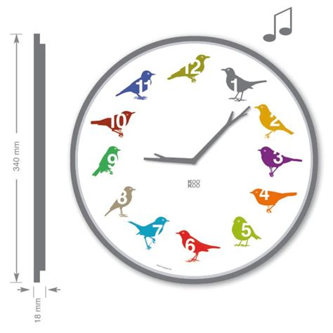 kookoo wanduhr ultraflat mit vogelstimmen color