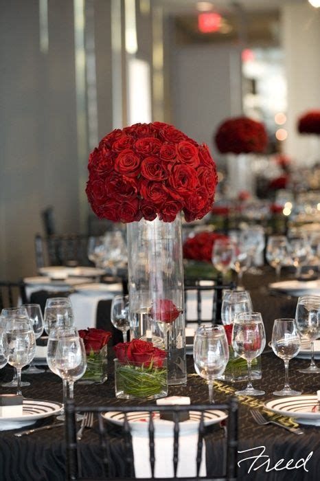 Tall Red Rose Wedding Centerpieces Red Rose Reception