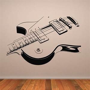 Guitar wall decals grasscloth wallpaper