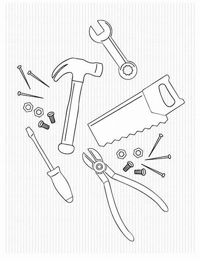 Coloring Tools Pages Tool Box Father Dad