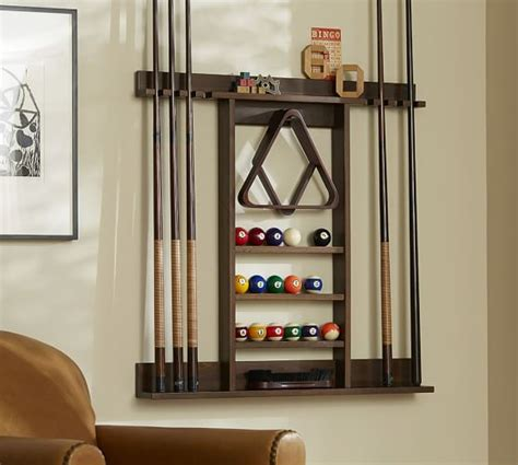 pool cue rack cue stick wall mount storage rack pottery barn