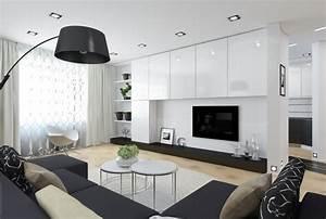 Lampadaire Moderne Salon : salon moderne blanc quels meubles et d co pour le r ussir ~ Teatrodelosmanantiales.com Idées de Décoration