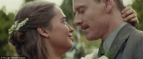 michael fassbender and vikander appear in the light between oceans s trailer