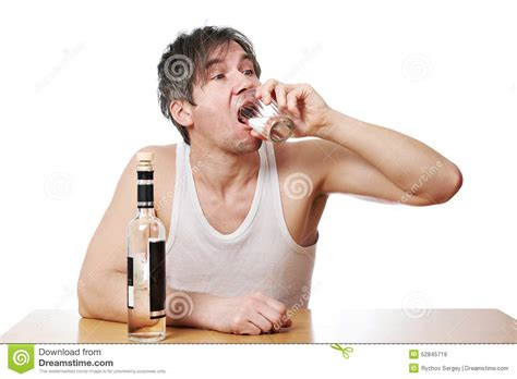 Drunk Man Drinks A Glass Of Vodka Stock Image  Image Of