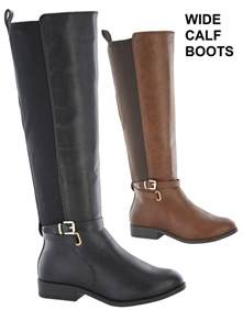 womens boots wide fit uk womens elastic stretch wide calf fitting flat boots size 3 8 ebay