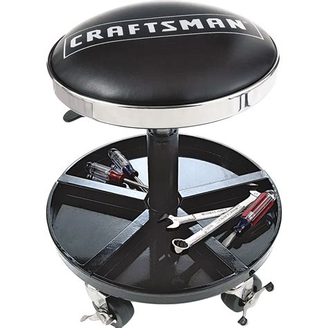 adjustable rolling mechanics seat with onboard tool