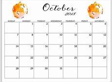 month of october 2018 calendar Aprilonthemarchco