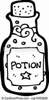 Potion Bottle Clip Template Magic Outline Clipart Coloring Cartoon Wine sketch template