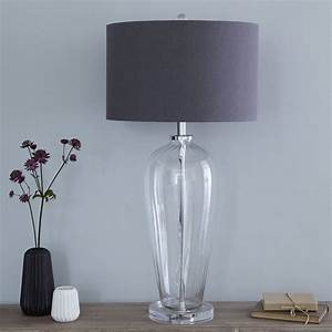 fluted glass table lamp and slate linen shade by primrose With floor lamp with plum shade