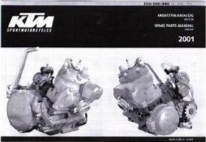 2001 Ktm 250 300 380 Sx Mxc Exc Engine Spare Parts Manual