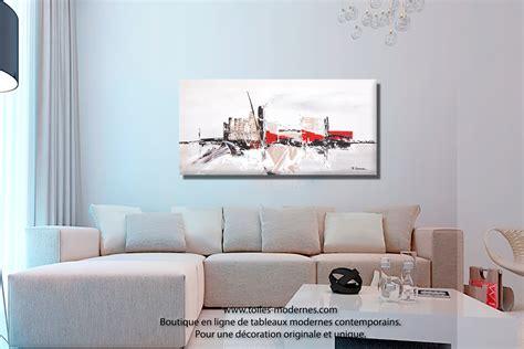 tableau d馗oration chambre tableau ville contemporaine gris taupe grand format panoramique pièce unique prix bas