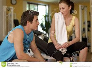 Man And Woman Talking In Health Club Stock Photo - Image ...