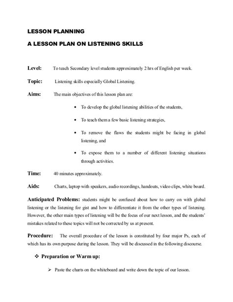 ga lesson plan on listening skills