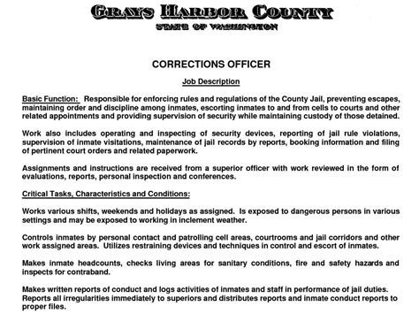 perfect correctional officer job description