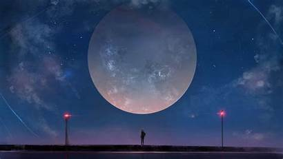 Moon Sky Anime Night Stars Huge Wallpapers