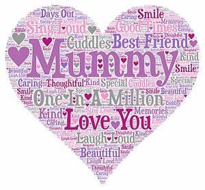 Personalised Word Art Print Mummy Mum Mothers Day Friend ...