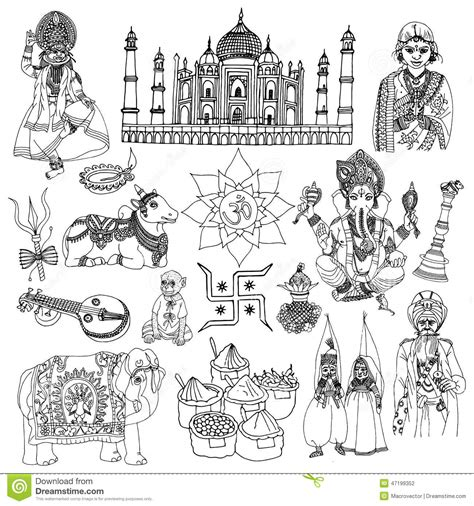 india sketch set stock vector image
