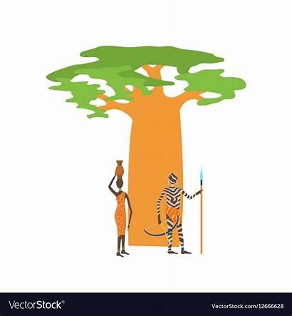 Baobab Tree Vector Isolated Royalty