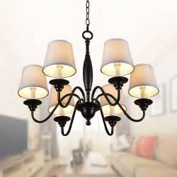 chandelier l shades canada 6 light black wrought iron chandelier with cloth shades