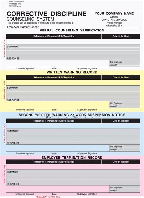 part corrective discipline counseling forms