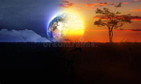 Sun And Moon Background Day And Night With Tree Sun And Moon Stock Illustration Illustration Of Change Full 48476195