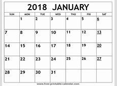 Printable 2018 January Calendar