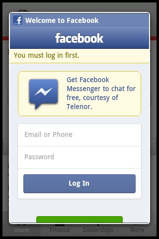 Android App Facebook Login Screen Missing The Cross To