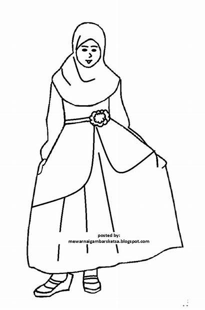 Gambar Sketsa Muslimah Anak Kartun Mewarnai Pakaian