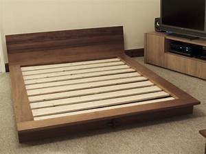 Iroko platform bed - Bespoke handmade bedroom furniture