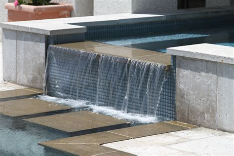 perimeter overflow swimming pool  spa located  isle