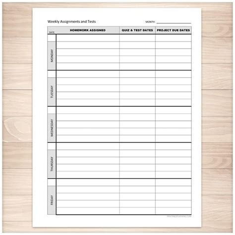 weekly school assignments  tests sheet printable
