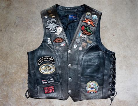 Vintage Harley Motorcycle Leather Biker Vest With Patches