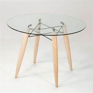Table ronde design en verre transparent et structure bois Souvenir 4 Pieds : tables, chaises