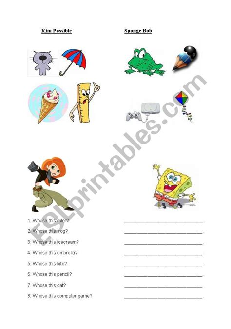 My, Your, His, Her  Esl Worksheet By Sylvi