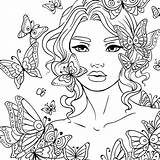 Coloring Adult Butterflies Butterfly Rose Around источник Mermaid Detailed Mandala sketch template