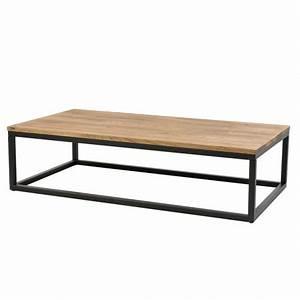 Table Basse Bois Et Noir : longue table basse avec plateau en ch ne et acier noir doncarli d coration ~ Teatrodelosmanantiales.com Idées de Décoration