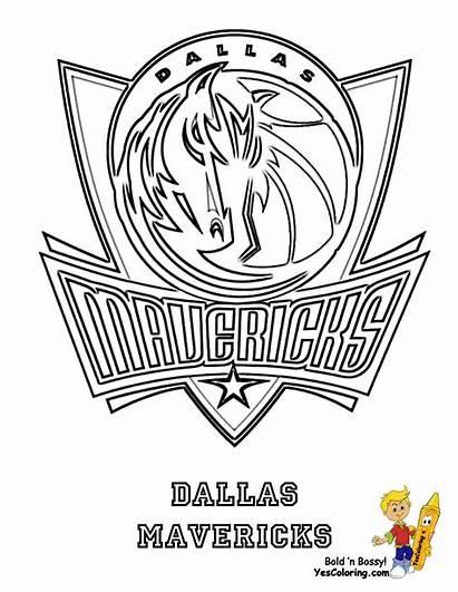 Coloring Mavericks Nba Dallas Pages Basketball Printables