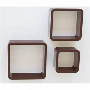 Cube De Rangement Mural : lot de 3 tag res cubes murale rangement marron eta06030 ~ Dailycaller-alerts.com Idées de Décoration
