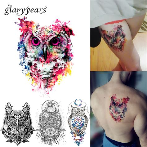 Colorful Owl Tattoos Reviews  Online Shopping Colorful