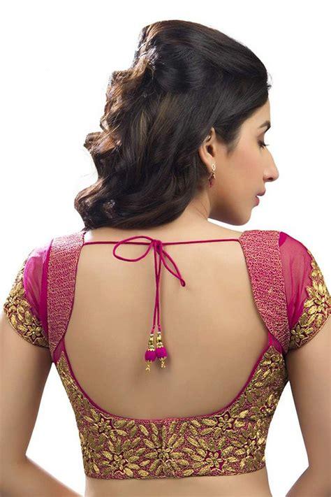 dark pink gold festive wear raw silk net blouse