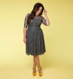 Plus Size Grey Lace Dress