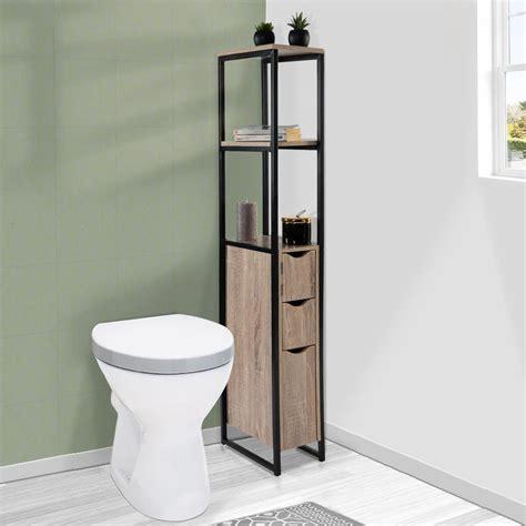 Il exploite un espace vertical inattendu en vous offrant des rangements supplémentaires. Meuble WC 3 portes design industriel avec étagères