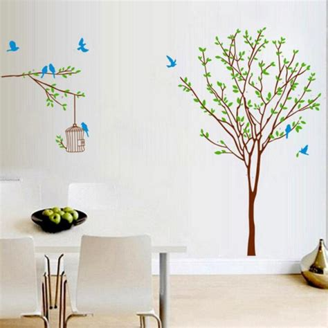 2017 new diy branch birdcage tree removable mural wall