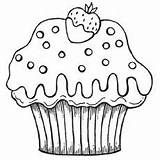 Coloring Cupcake Pages Cupcakes Printable Pattern Strawberry Yummy Sprinkles Colouring sketch template