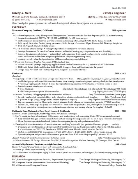 hilary s one page devops engineer resume docshare tips