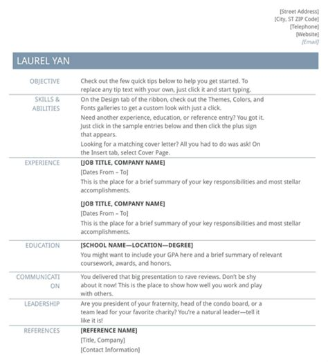 Basic Exle Resume by Basic Resume Template For Excel Pdf And Word